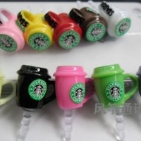 10pcs Starbucks Coffee Cup 3.5mm Anti Dust Earphone Jack Plug Stopper Cap for Iphone HTC