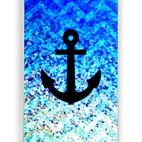 Chevron Anchor On Glitter for Iphone 4 / 4s Hard Cover Plastic