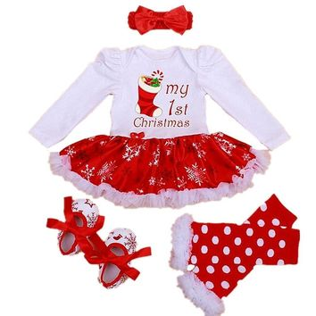 Cute Baby Girl My First Christmas Romper Dress Clothes Tutu Skirt Outfit + Shoes + Leg Warmer + Headband 4pcs Set Long Sleeve Jumpsuit