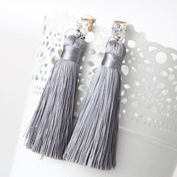 2016 Europe Style Bohemian Shiny Rhinestone Chunky Long Tassel Earrings For Girls Fashion Pendientes
