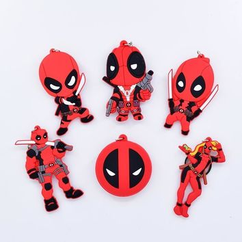 Deadpool Dead pool Taco Cute  Keychain PVC Super Heroes Keyring Double Sided Anime Key Chain For Bag Pendant Cartoon Charm Accessories AT_70_6