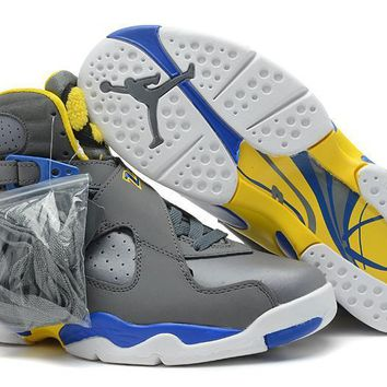 Nike Air Jordan 8 Retro Grey Blue Yellow Cheap Sale JD 8 Discount Women Sports Basketb