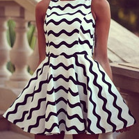 Wave Pattern Skater Dress