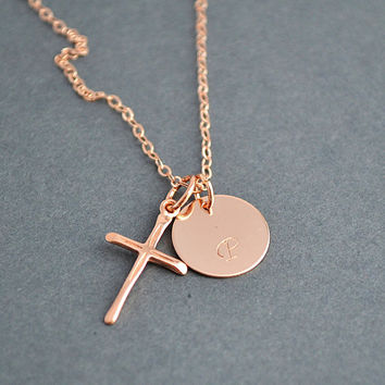 Initial Disc and Cross Necklace, Rose Gold Filled Initial Disc, Cross Pendant Necklace, Monogram Disc Necklace