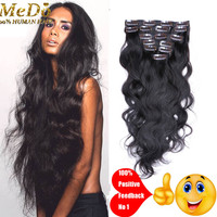 Brazilian Virgin Human Hair Clip In Extensions Double Weft