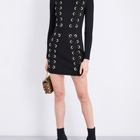 BALMAIN Lace-up high-neck knitted dress
