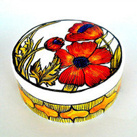 Poppy Flower Box Ceramic Spring Home Decor Painted Orange Red Green White Black Botanicals Floral Illustrated Jewelry Box