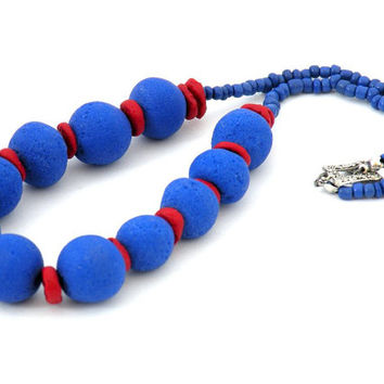 Blue-Red Necklace With Big Beads