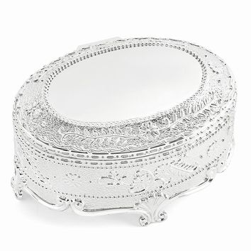Silver-plated Hinged Lid Oval Jewelry Box - Engravable Personalized Gift Item
