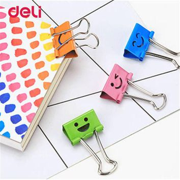 Deli 48PCS a Barrel Common Smile Cute Binder Clips Metal Cute Paper Stationary Office Material School Supplies Cute Binder Clips