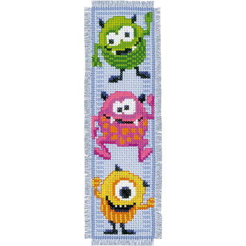 Little Monsters Bookmarks On Aida Counted Cross Stitch Kit-2.5X8 14 Count Set Of 2