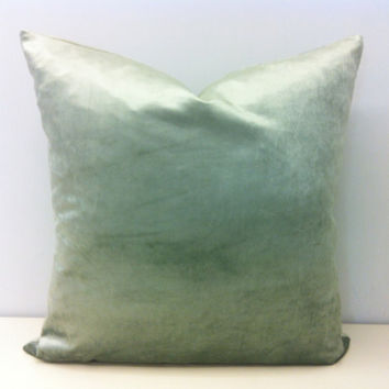 Light Green Velvet Pillow Cover, Mineral Green Pillow, Green Decorative Couch Pillow, Green Velvet Cushion Cover, Green Velvet Throw Pillows