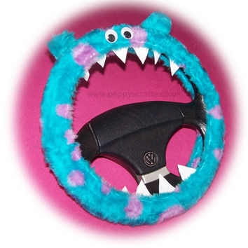 Cute Fuzzy faux fur Monster Sully spot steering wheel cover fluffy furry car fun with googly eyes, ears and teeth