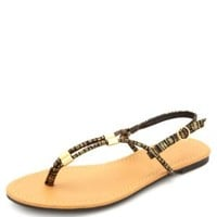 Gold-Printed T-Strap Thong Sandals by Charlotte Russe - Black