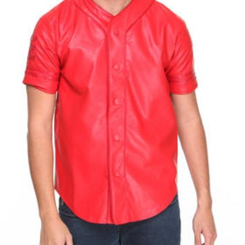 Faux Leather Baseball Jersey