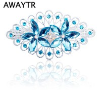 AWAYTR 1 Pcs Leaf Shape Hair Clips Alloy Girls Women Colorful Hairpins Hair Accessories Crystal Flower Hair Clips