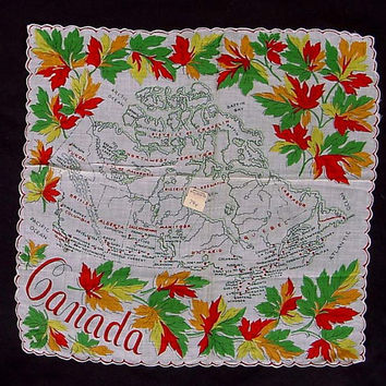 Canada Hankie 1950s Canadian Provinces Map Souvenir Handkerchief 13 1/2 Inches Square Maple Leaf Oceans Districts Cotton Red Green Yellow