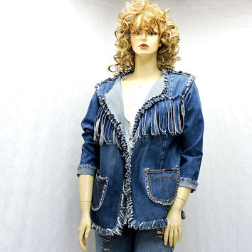 Fringed denim jacket / size M 10 / 12 / faded 80s jean jacket / boho / hippie / western denim fringe jacket / handmade