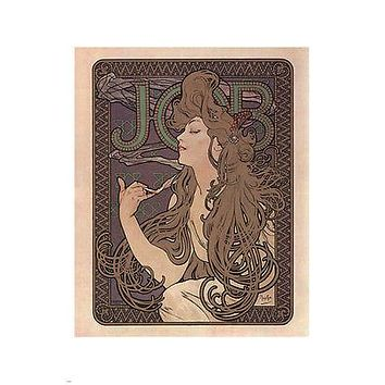 JOB CIGARETTE PAPER POSTER alphonse mucha FRANCE vintage AD 1894 24X36 RARE