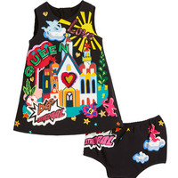 Dolce & Gabbana Cathedral Graphic Sleeveless Dress w/ Matching Bloomers, Size 6-30 Months