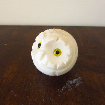 Vintage Owl Paperweight, Round Carved Alabaster Figurine, Italy, Italian Decor