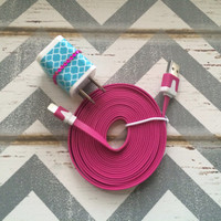 New Super Cute Jeweled Turquoise Moroccan Designed Dual USB Wall Connector  + 10ft Flat Hot Pink  IPhone 5/5s/5c Cable Cord