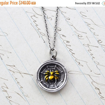 Victorian Spider in a Web Pendant, Antique Sterling Silver and Enamel Insect Necklace, Luck & Fate Woven Together, Student Graduation Gift