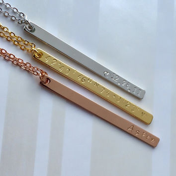 Rose Gold Silver Bar Necklace, Gift For Her, Coordinates Necklace, Roman Numerals Necklace, Mom Aunt Grandma Gift, GPS Coordinates