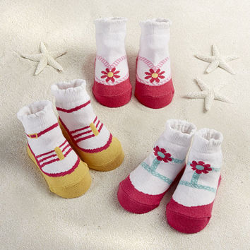 """Seaside Sandals"" 3 Pair of Socks Gift Set"