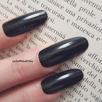 bkack fake nails long oval gothic wedding bride almond nail polish wag drag queen lolita selfie false nails party acrylic lasoffittadiste