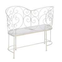 Romantic White Metal Couple Bench
