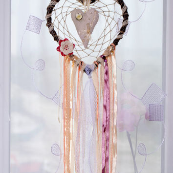 Нeart dream catcher Large dreamcatcher Dreamcatchers Boho decor Wall decor Wall hanging Wedding decor Shabby chic Сountry style