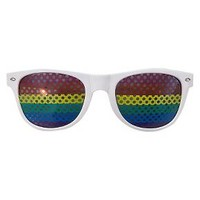 Pride Rainbow Sunglasses White - One Size