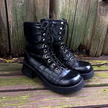 90s Goth Black Lace Up Combat Boots with Chunky Heel  |  US Women's Size 9  |  Grunge  |  Club Kid  |  Punk  |  Avant Garde