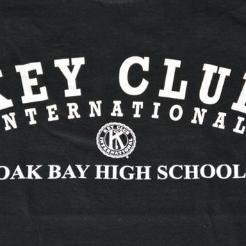 Vintage 90s Oak Bay High School T-shirt - Retro Black Cotton Key Club Tee Size S Small