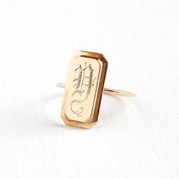 "Antique 10k & 14k Rose Gold Initial ""D"" Ring - Size 7.5 Early 1900s Victorian Edwardia"