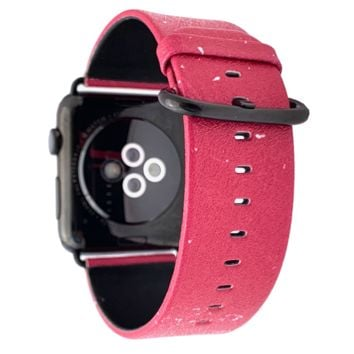 40mm & 38mm Vegan Leather Apple Watch Band - Raspberry