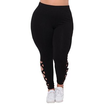 Solid Criss-Cross Hollow Out legging