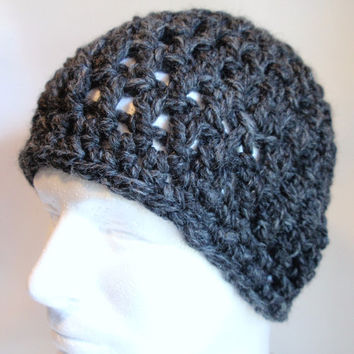 Charcoal Gray Mens Hat Beanie Crocheted Wool Chunky Acrylic and Lamb's Wool Gift for Him or Gift for Dad, Boy friend, Teen, Graduate
