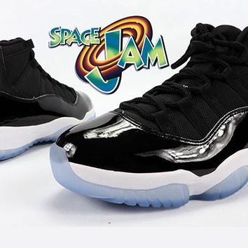 [FREE SHIPPING] AIR JORDAN 11 (BLACK/ BLUE - SPACE JAM 2016 #45) SNEAKER