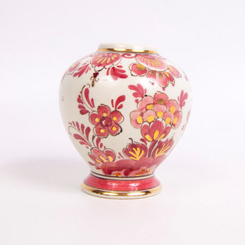 Vintage Delfts Rood Bud Vase Regina Made in Holland Signed Numbered Footed Urn Jar Hand Painted