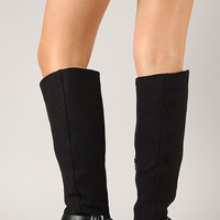 Bamboo Asiana-68 Buckle Round Toe Riding Knee High Boot