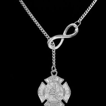 Maltese Cross Fireman Firefighter Wife Girlfriend Gift Fire Dept Lariat Necklace