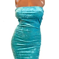 Jade Green Stretch Velvet Strapless Sexy Bodycon Dress