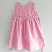 Vintage Pink Linen Girls Dress Sun Dress Size 6 Little Girls Gently Used Clothing  Summer Dress July 4th
