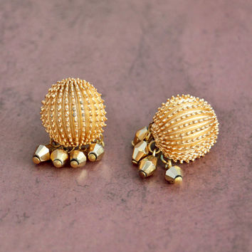 Vintage 1960s Crown Trifari, Spike Gold Tone, Dangle Bead, Clip On Non Pierce Earrings, Womens Mid Century Estate Jewelry, Wife Gift
