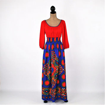 70s Maxi Dress Women XS Small Long Peasant Dress Hippie Boho 1970s Hippie Clothes Red Blue Colorful Dress Vintage Clothing Womens Clothes
