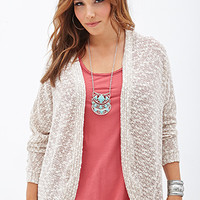 FOREVER 21 PLUS Marled Knit Cardigan Cream/Taupe