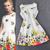 White Sleeveless  Printed Jacquard A-Line Mini Dress