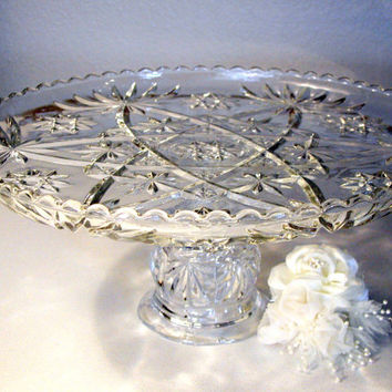 "Crystal 13"" Cake Stand/Custom Vintage Cake Stand for Vintage Weddings/Crystal Pedestal Cake Stand/Early American Prescut (EAPC) Cake Stand"